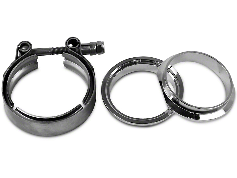GMS 3 in. Mating Male to Female Interlocking Flange w/ V-Band Exhaust Clamp - Mild Steel (97-17 All)