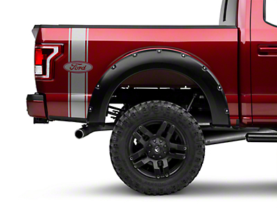 American Muscle Graphics Silver Rear Vertical Stripe w/ Ford Oval (97-17 All)