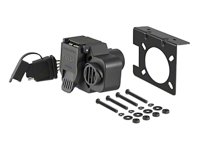 Curt Manufacturing Dual-Output Connector w/ Backup Alarm - 7-Way Blade & 4-Way Flat (97-17 All)