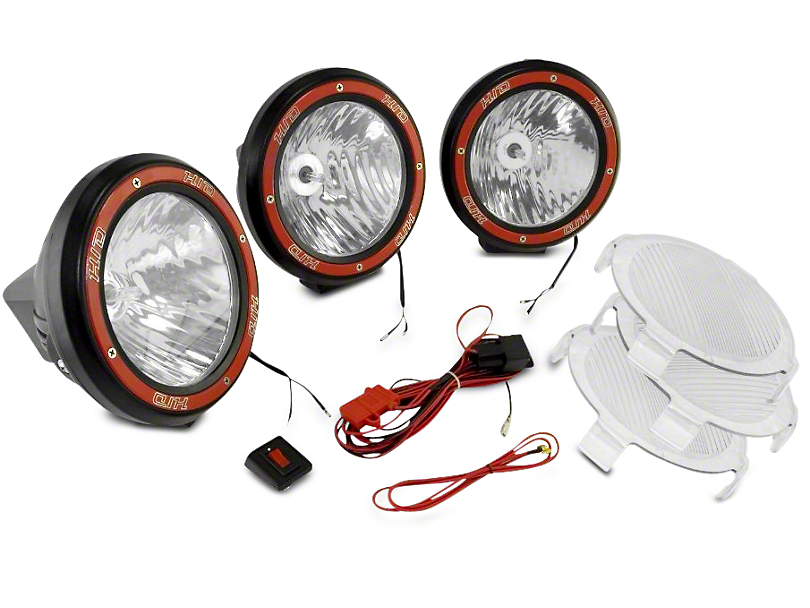 Rugged Ridge 5 in. Round HID Off-Road Fog Lights w/ Black Composite Housings - Set of Three (97-18 All)