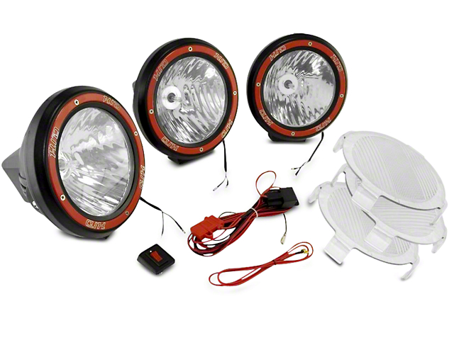 Rugged Ridge 5 in. Round HID Off-Road Fog Lights w/ Black Composite Housings - Set of Three (97-18 F-150)
