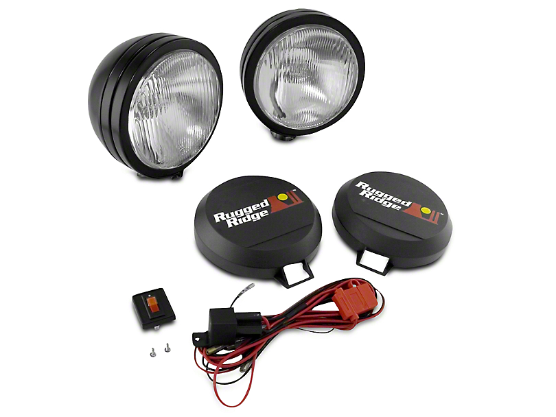 Rugged Ridge 6 in. Round HID Off-Road Fog Lights - Black - Pair (97-17 All)