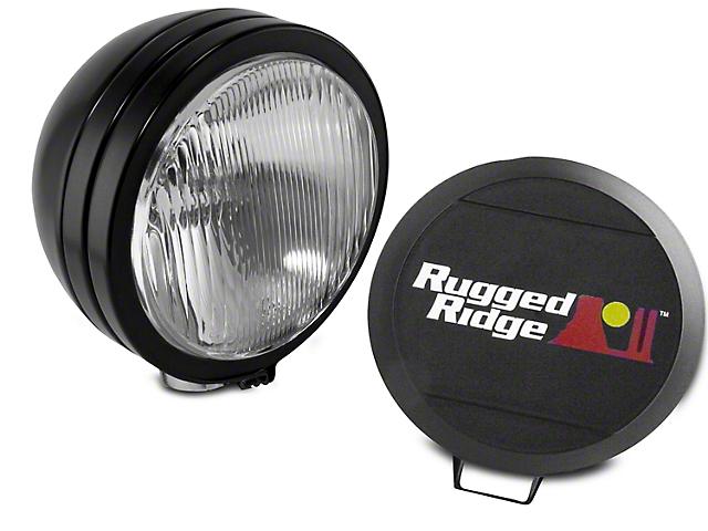 Rugged Ridge 5 in. Round HID Off-Road Fog Light w/ Black Steel Housing - Single (97-17 All)
