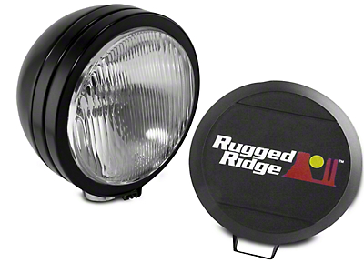 Rugged Ridge 5 in. Round HID Off-Road Fog Light w/ Black Steel Housing - Single (97-18 All)