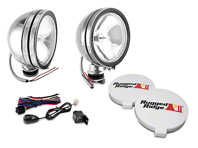 Rugged Ridge 6 in. Halogen Fog Lights - Stainless Steel - Pair (97-18 All)