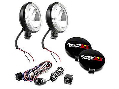 Rugged Ridge 6 in. Slim Halogen Fog Lights - Black - Pair (97-18 F-150)
