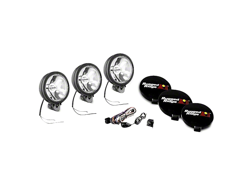 Rugged Ridge 6 in. Halogen Fog Lights - Black - Set of Three (97-18 All)