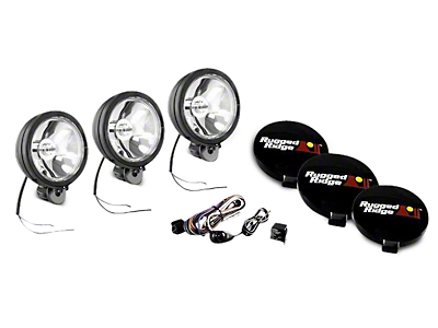 Rugged Ridge 6 in. Halogen Fog Lights - Black - Set of Three (97-18 F-150)