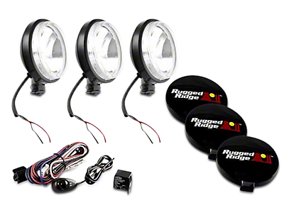 Rugged Ridge 6 in. Slim Halogen Fog Lights - Black - Set of Three (97-18 All)