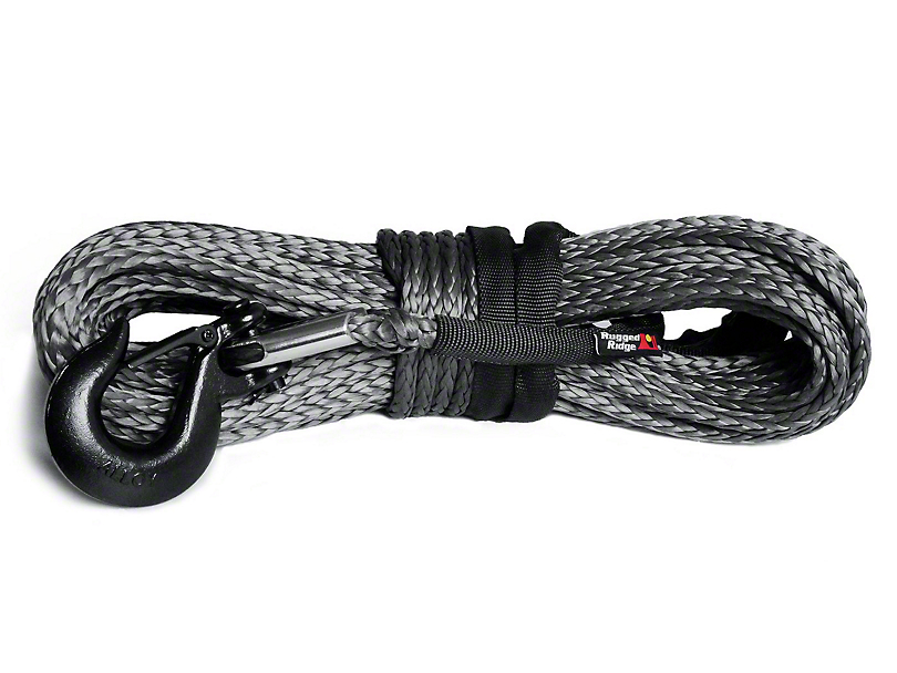 Rugged Ridge 25/64 in. x 94 ft. Dark Gray Synthetic Winch Line - 19,310 lbs