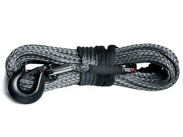 Rugged Ridge 23/64 in. x 100 ft. Dark Gray Synthetic Winch Line - 16,550 lbs. (97-18 All)