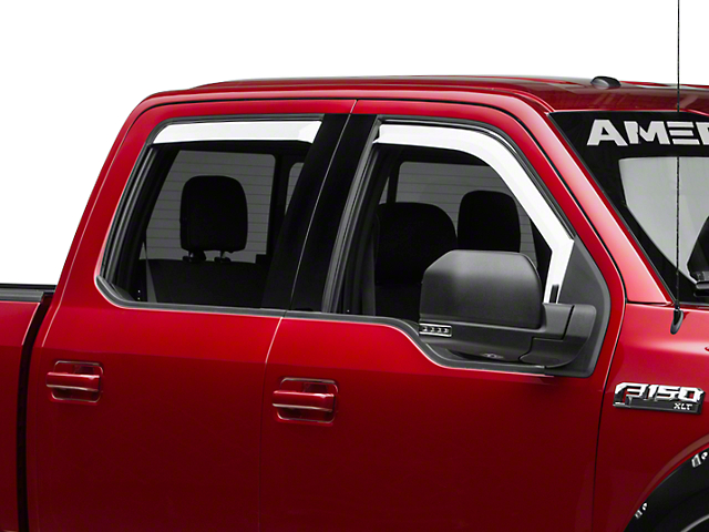 Putco Element Chrome Window Visors - Front & Rear (15-18 SuperCab, SuperCrew)