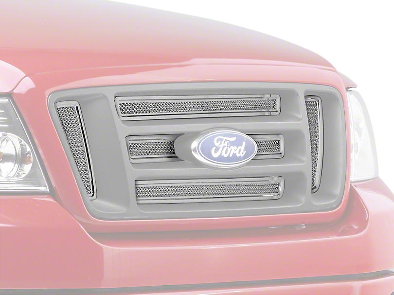 Putco Liquid Mesh 6-Piece Upper Overlay Grille w/ Emblem Insert - Polished (04-08 FX4, STX, King Ranch)