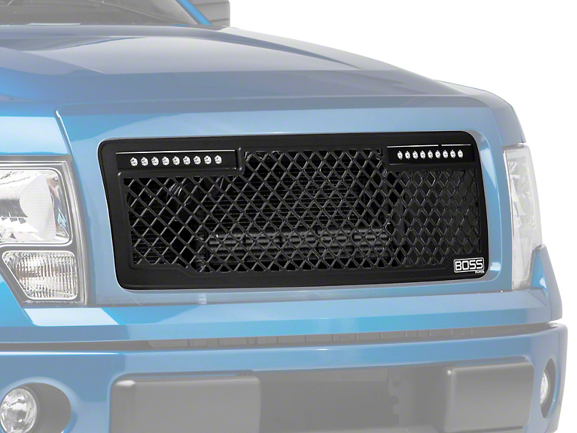 Putco Boss Series Upper Grille Insert w/ 10 in. Luminix Light Bar - Black (13-14 F-150, Excluding Raptor)