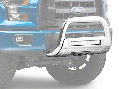 Barricade HD Bull Bar w/ Skid Plate & 20 in. LED Dual-Row LED Light Bar - Polished SS (04-18 All, Excluding Raptor)