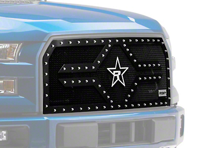 RBP RX-2 Series Studded Frame Upper Overlay Grille Insert - Black (15-17 XLT; 2017 XL w/ STX Package)