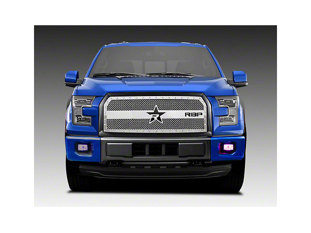 RBP RX-3 Series Studded Frame Upper Overlay Grille Insert - Chrome (15-17 XLT; 2017 XL w/ STX Package)