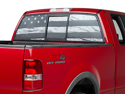 American Muscle Graphics Perforated Distressed Flag Rear Window Decal (97-17 All)
