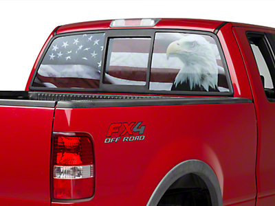 American Muscle Graphics Perforated Flag & Eagle Rear Window Decal (97-17 All)