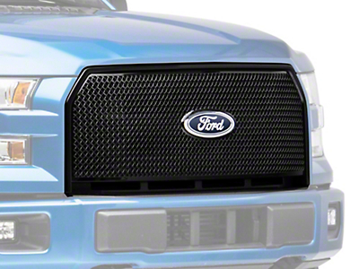 Black Horse Off Road Mesh Upper Overlay Grille - Black (15-17 XL)