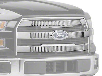 Black Horse Off Road Mesh Upper Overlay Grille - Chrome (15-17 Lariat)