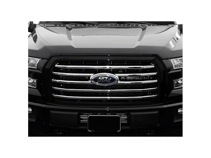 Black Horse Off Road Mesh Upper Overlay Grille - Chrome (15-17 F-150 XLT; 2017 F-150 XL w/ STX Package)