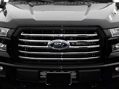 Black Horse Off Road Mesh Upper Overlay Grille - Chrome (15-17 XLT; 2017 XL w/ STX Package)