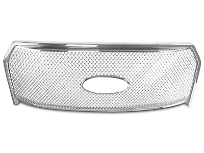 Black Horse Off Road Mesh Upper Overlay Grille - Chrome (15-17 F-150 XL)