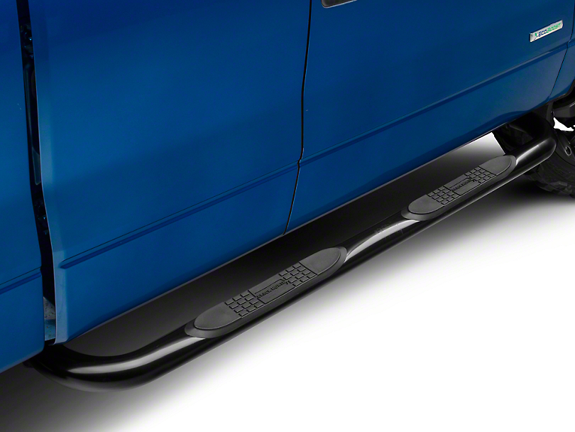 Black Horse Off Road 3 in. Round Side Step Bars - Black (09-14 SuperCab, SuperCrew)