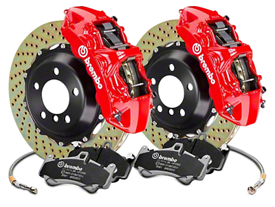 Brembo GT Series 6-Piston Front Brake Kit - 15 in. Cross Drilled Rotors - Red (2017 Raptor)