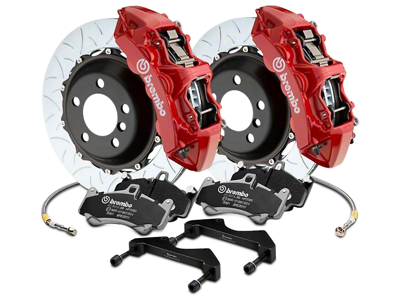 Brembo GT Series 6-Piston Front Big Brake Kit w/ 15 in. Type 3 Slotted Rotors - Red Calipers (17-19 F-150 Raptor)