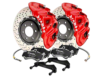 Brembo GT Series 8-Piston Front Brake Kit - 16.2 in. Cross Drilled Rotors - Red (17-18 Raptor)