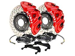 Brembo GT Series 8-Piston Front Big Brake Kit with 16.20-Inch Cross Drilled Rotors; Red Calipers (17-20 F-150 Raptor)