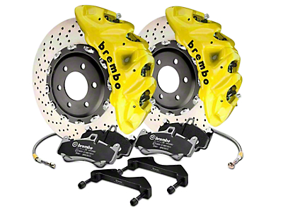 Brembo GT Series 8-Piston Front Brake Kit - 16.2 in. Cross Drilled Rotors - Yellow (17-18 Raptor)