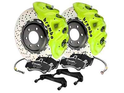 Brembo GT Series 8-Piston Front Brake Kit - 16.2 in. Cross Drilled Rotors - Fluorescent Yellow (17-18 F-150 Raptor)