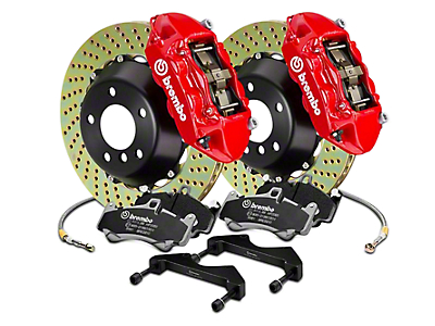 Brembo GT Series 4-Piston Rear Brake Kit - 15 in. Cross Drilled Rotors - Red (2017 Raptor)