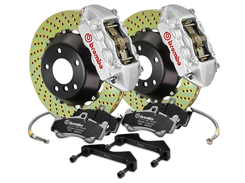 Brembo GT Series 4-Piston Rear Brake Kit - 15 in. Cross Drilled Rotors - Silver (2017 Raptor)