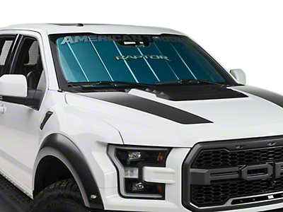 Covercraft UVS Windshield Sunscreen w/ Raptor Logo - Blue - w/o Rearview Camera Cutout (2017 Raptor)