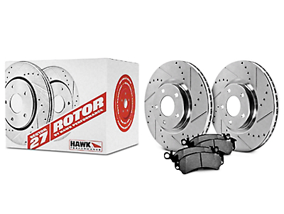 Hawk Performance Sector 27 5-Lug Rotors & LTS Brake Pad Kit - Front (97-03 4WD)