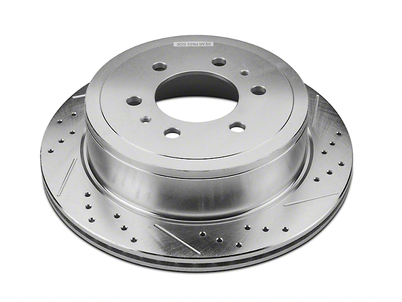 Hawk Performance Sector 27 Drilled & Slotted 6-Lug Rotors - Rear Pair (04-14 2WD/4WD; 15-17 w/ Manual Parking Brake)