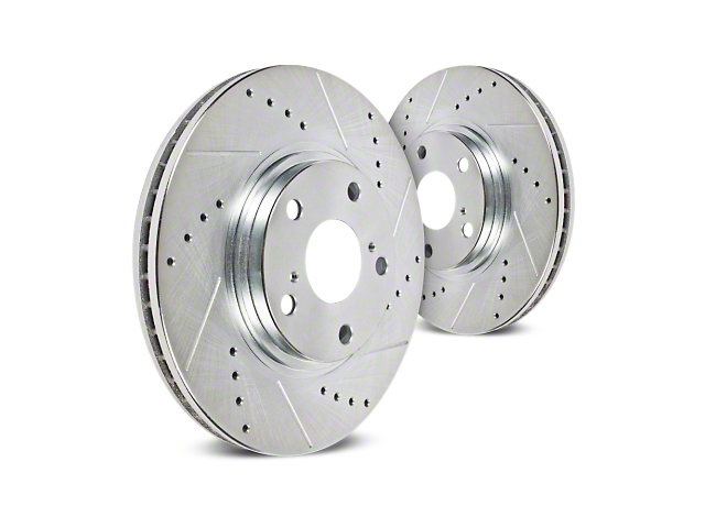 Hawk Performance Sector 27 Drilled & Slotted 6 or 7-Lug Rotors - Front Pair (04-08 2WD/4WD)