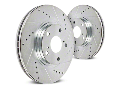 Hawk Performance Sector 27 Drilled & Slotted 6 or 7-Lug Rotors - Front Pair (04-08 2WD/4WD F-150)