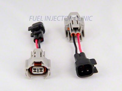 Plug and Play Connector Set of 4 USCAR//EV6//EV14 harness side injector side to Denso Flow Force Injectors FFCD