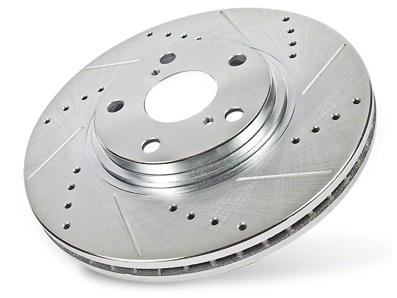Power Stop Evolution Cross-Drilled and Slotted 5-Lug Rotors; Rear Pair (99-03 F-150 w/ Rear Disc Brakes)