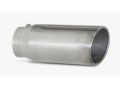 Pypes 5 in. Rolled Angled Cut Exhaust Tip - Polished Stainless - 2.5 in. Connection (97-18 All)