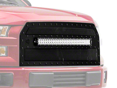 T-REX Stealth Metal Series Upper Replacement Grille w/ 30 in. Curved LED Light Bar - Black (15-17 F-150, Excluding Raptor)