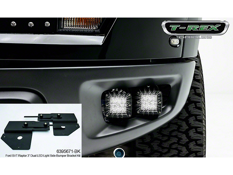 T-REX Torch Series 3 in. LED Cube Light Fog Light Mounting Brackets (10-14 F-150 Raptor)