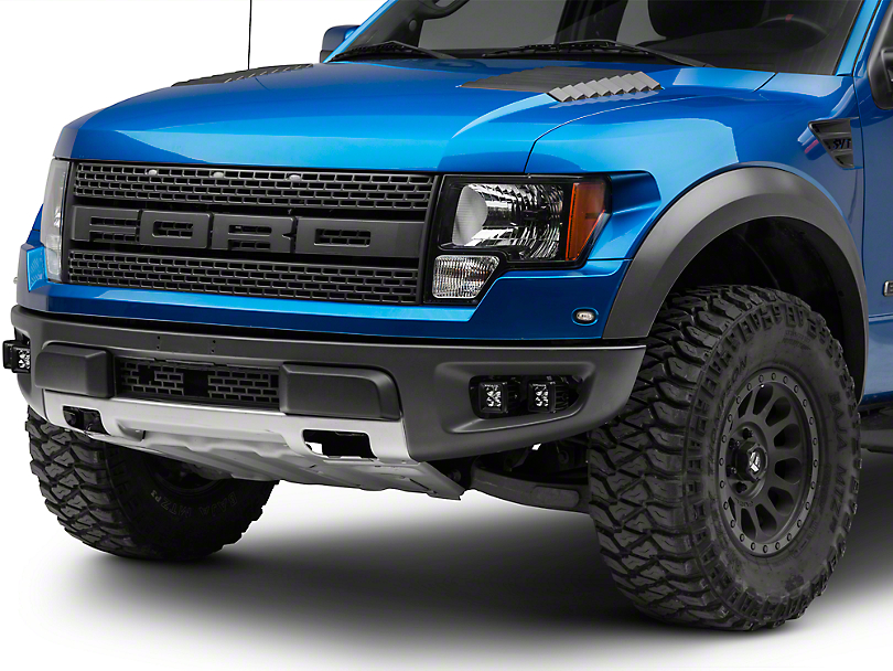 T-REX Torch Series Fog Light Mounting Brackets w/ Four 3 in. LED Cube Lights (10-14 F-150 Raptor)