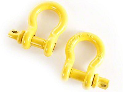 Rugged Ridge 3/4 in. Yellow D-Ring Shackles - Pair (97-18 All)