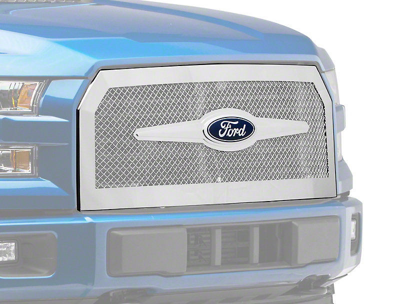 E&G Heavy Mesh Upper Replacement Grille - Chrome (15-17 F-150, Excluding Raptor)